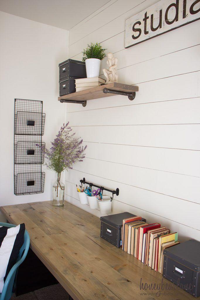 Shiplap Wreath Display Farmhouse Desk - The Creative Mom