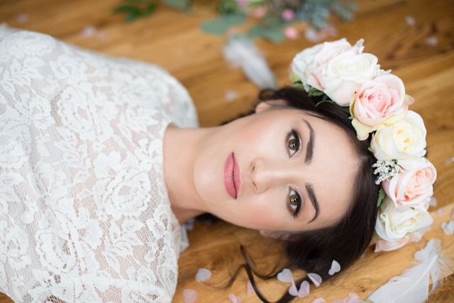 Handcrafted, bespoke artificial silk flower bridal crown from Lilly Dilly's Photography by Kayleigh Pope Photography #wedding #flower #crown #silk #artificial #bride #bridal #bespoke #unique #Lilly Dilly's #blush #pink