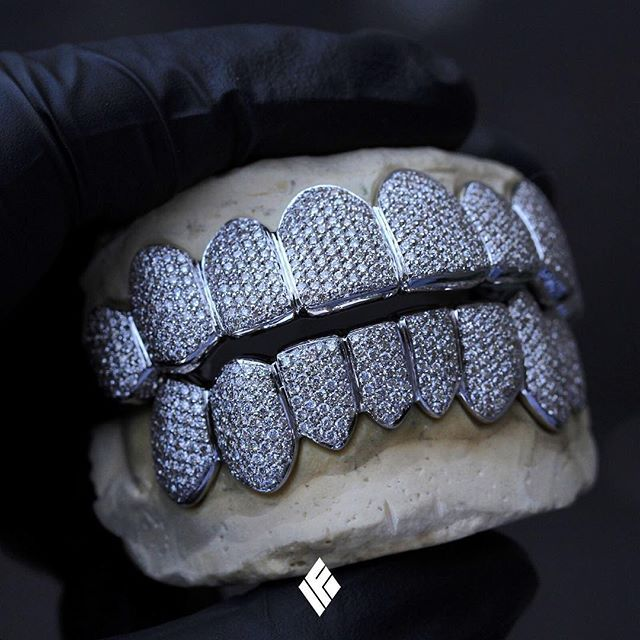 Custom 14K White Gold Top And Bottom Grills Fully Iced Out. Specially made for @playboicarti  #Grillz #CustomJewelry #IFANDCO