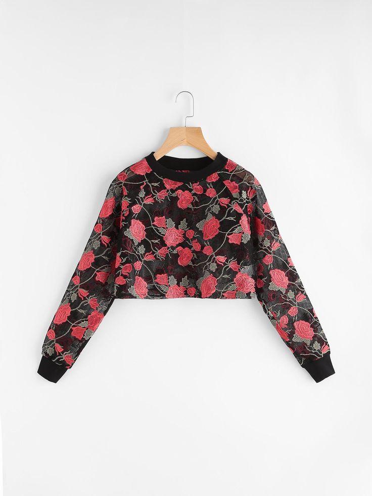Shop Black Rose Embroidered Crop Fishnet Sweatshirt online. SheIn offers Black Rose Embroidered Crop Fishnet Sweatshirt & more to fit your fashionable needs.