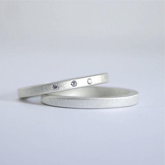 Three Diamond Wedding Ring Set Matte Finish by CocoandChia