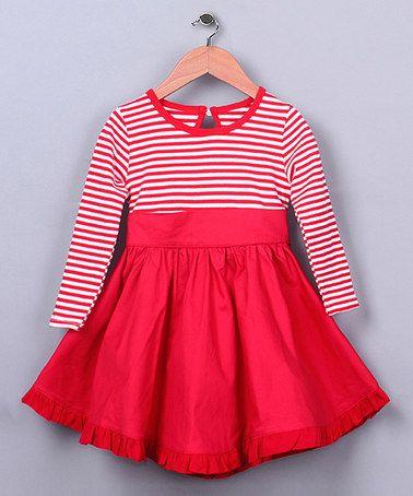 Loving this Red & White Stripe Bow Dress - Toddler & Girls on #zulily! #zulilyfinds