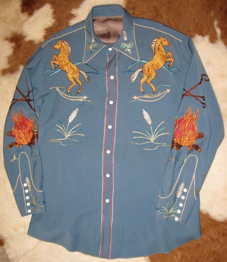 Vtg 40s 50s Nathan Turk Embroidered Western Shirt XL