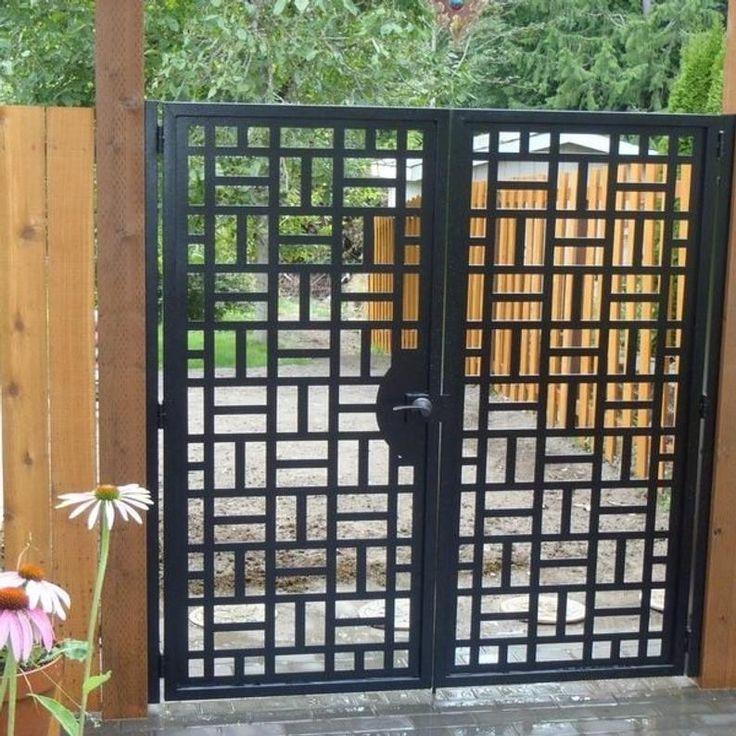 Contemporary Dual Entry Metal Gate Ornamental Iron Garden ...