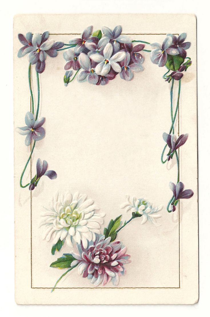 Vintage Flowers Clip Art Borders | ... Flower Frame: Vintage Flower Border Design with Forget-Me-Not Flowers: