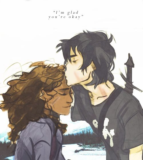 """goldenfleeces: He hesitated, then came over and kissed her forehead. """"I'm glad you're okay."""" (art by viria)"""