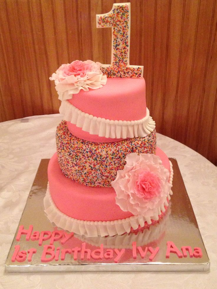 Sprinkles, Ruffles and Flowers First Birthday Cake