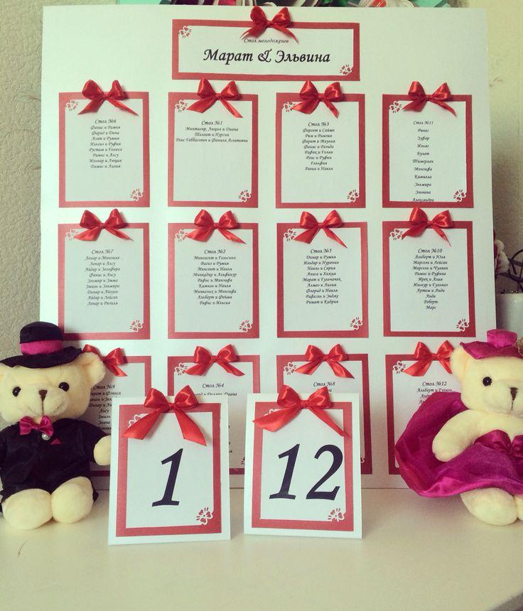 Wedding accessories свадебные аксессуары в красном рассадка для гостей и нумерация столов