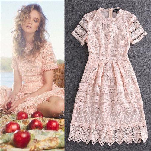 Свободного покроя новые дизайнерские платья 2016 женщин высокое качество кружева розовые белые с коротким рукавом за колена платье вышитые кружевном платье о образным шеи купить на AliExpress