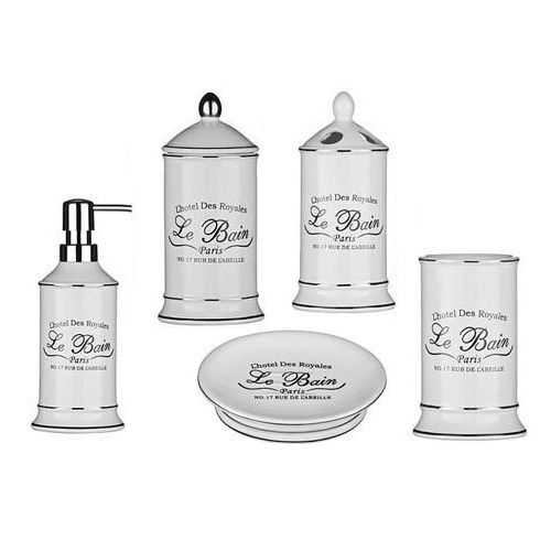 5 piece le bain white ceramic bathroom set