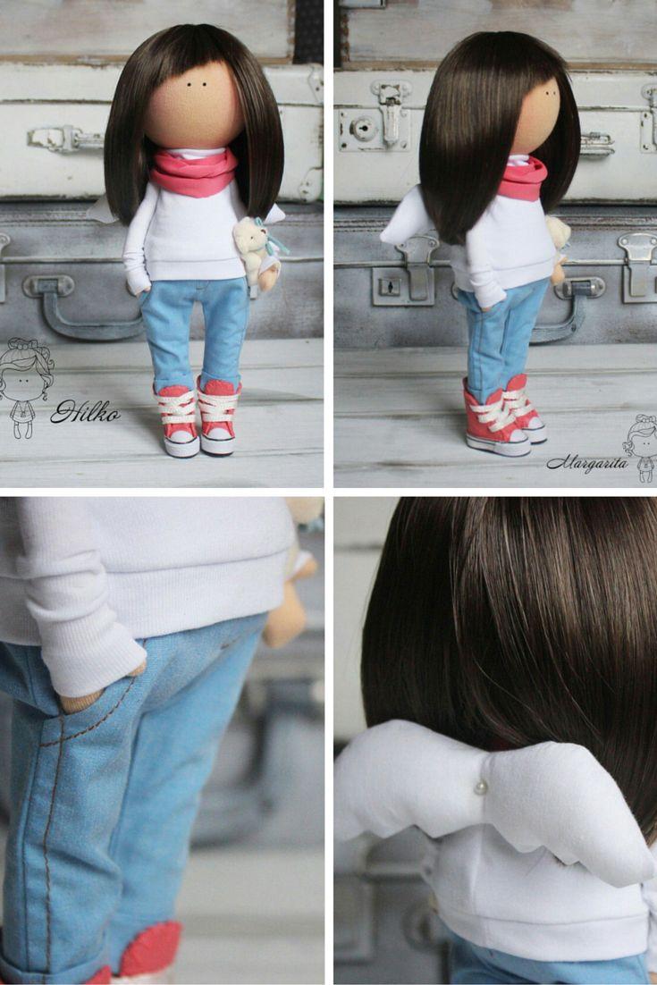 Teenager doll, cloth doll, fabric doll, tilda doll, textile doll, collection doll, interior doll
