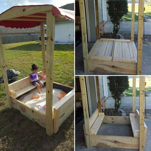 Sand Box w/ lid that opens into bench and a canopy