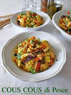Oggi un delizioso e saporito cous cous di pesce con verdurine e zafferano davvero strabuono! Ricetta etnica cous cous di pesce