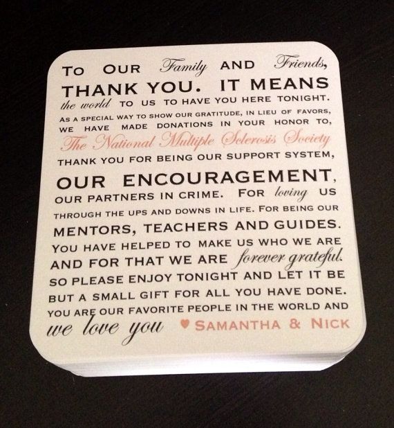 Wording For Money In Lieu Of Wedding Gifts: 50 Donation Favor Thank You Wedding Reception By