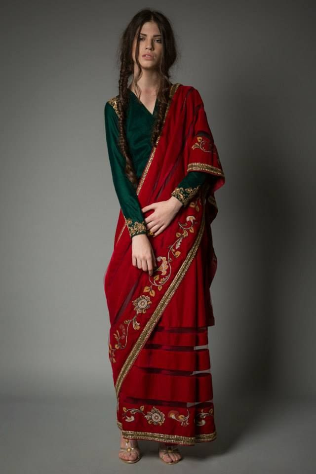 Red & green sari by Neeta Lulla