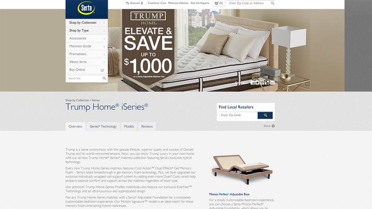 "Serta Will Stop Selling Donald Trump Mattress Line in Latest Defection - Bloomberg Politics - The Serta website, advertising the Trump Home® iSeries, is seen on July 2, 2015. ""Trump is a name synonymous with the upscale lifestyle, superior quality and success of Donald Trump and his world-renowned empire,"" the page says."