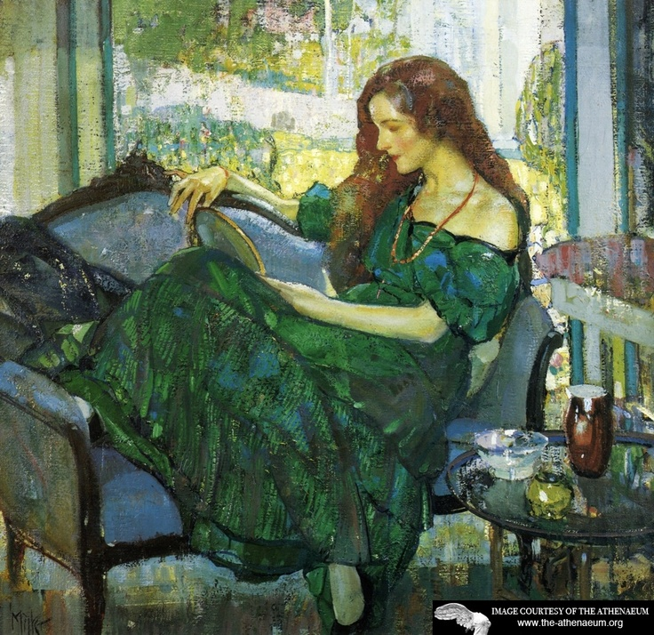 "Richard Edward Miller - Miss ""V"" in Green 1920: Green, Art, Edward Miller, American Impressionist, Richard Edward, Emil Miller, Painting, Richard Emil"