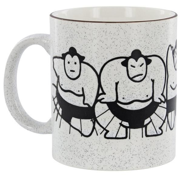 Cheerful sumo wrestlers circle this stoneware cup displaying many faces and emotions. Liven up your mug collection with a playful take on this Japanese traditio