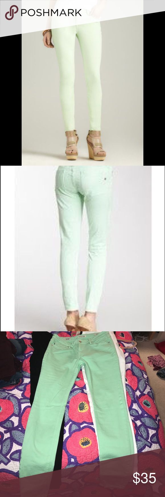VIGOSS The Jagger Super Skinny Jenas, Size 27 Super comfy! Gently used. From Nordstrom. Worn less than 5 times. Mint green color. Waist 27, Length 31. Comes from a smoke-free home :) Small dark spot on left pant leg, but it's very hard to see! Vigoss Jeans Skinny