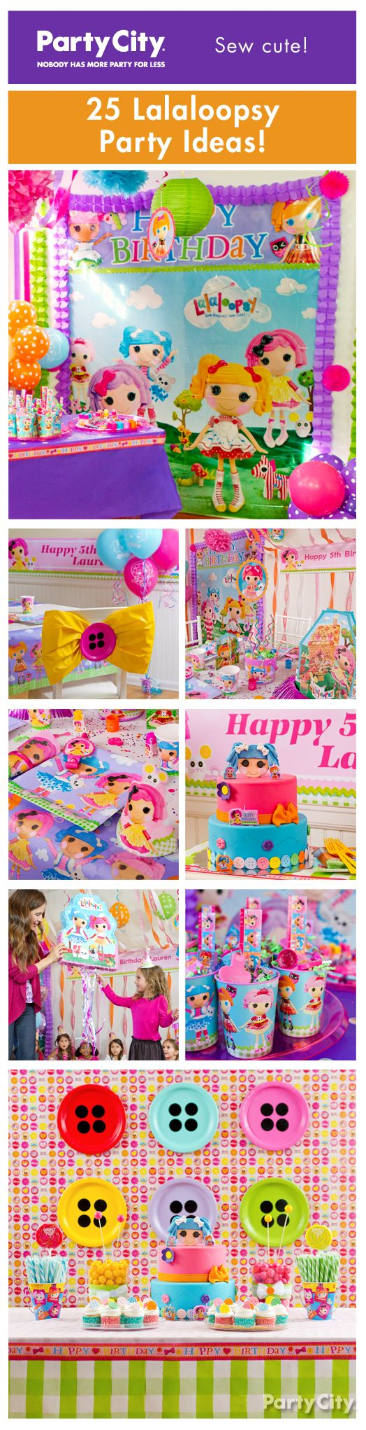 Easy-peasy party ideas she'll la-la-love! Celebrate your doll's big day with a Lalaloopsy birthday party that is *sew* cute!