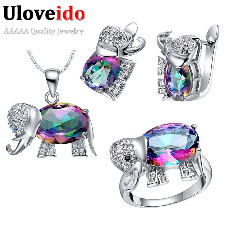 Set with ring size 8 Elephant Baby & Kids Jewelry Sets, 925 Silver Set Children Jewelry Austrian Crystal Necklace Earrings Ring Conjuntos Ulove T485