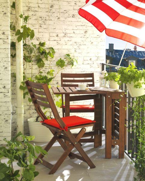 ÄPPLARÖ Gateleg Table, Outdoor, Brown Stained Brown