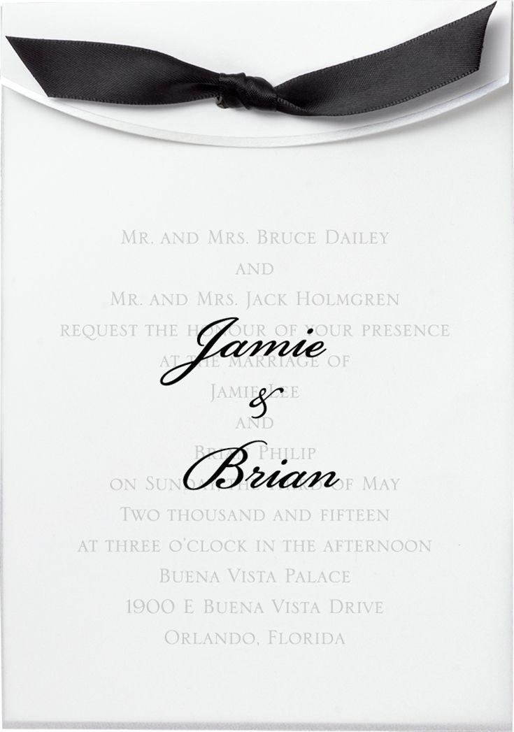 wedding invitation tied with ribbon%0A Classic wedding invitation with vellum overlay tied with a ribbon    loveyourinvites  blackandwhitewedding