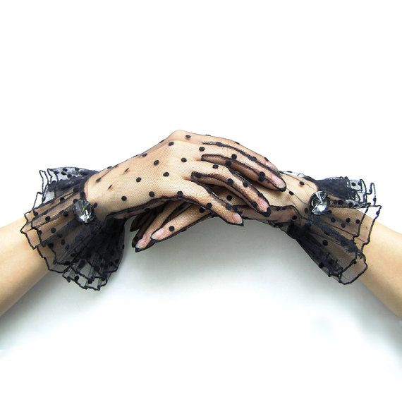 darlene-- charity ball 1.20. Short Black Gloves Vintage Style Polka Dot Gloves by curtainroad