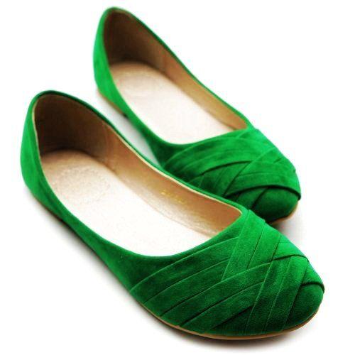 Green Bandage Ladies Flat Shoes - Cute Bandage Ladies Flat Shoes