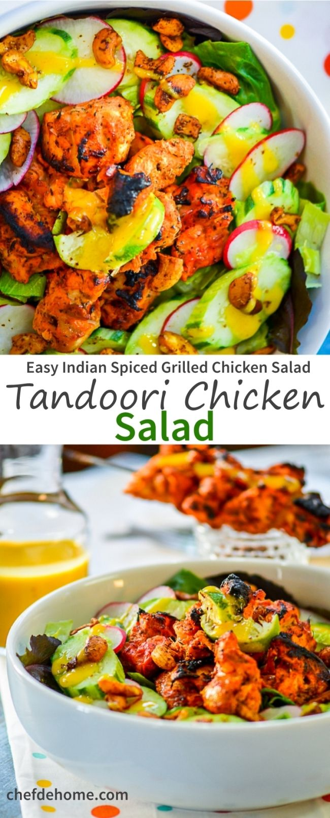 Spicy Tandoori Chicken Salad with Cooling Mango Yogurt Dressing | chefdehome.com