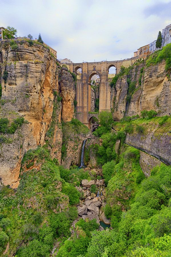 Ronda (Málaga) Three bridges, Puente Romano (Roman Bridge, also known as the Puente San Miguel), Puente Viejo (Old Bridge, also known as the Puente Árabe or Arab Bridge) and Puente Nuevo (New Bridge), span the canyon.