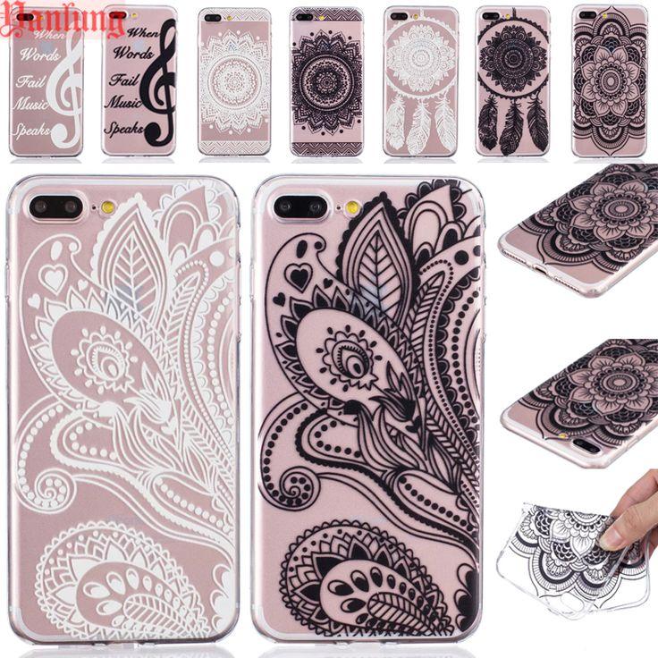 Chiaro Hennè Floral Paisley Mandala Fiori Casse Del Telefono Fundas TPU per iPhone 7 6 6 S Più 5 S 5 SE 5C di Cristallo Molle di Gomma Della Copertura