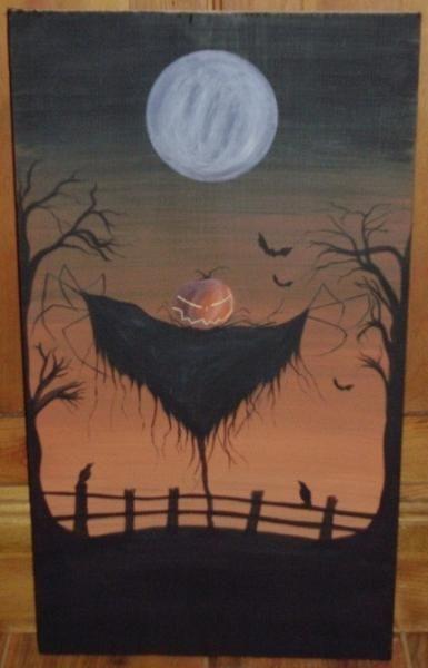 Sleepy Hollow Sign painting scarecrow Headless Horseman New York Folk Art Halloween Decorations Pumpkins Jack Spooky crows Witches by SleepyHollowPrims, $67.50 USD