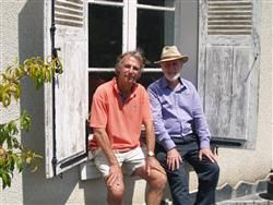 John Mason (ACS) and Colin Elliott (Garden Design Academy)  -Chilling with our affiliate in the Loire Valley in France