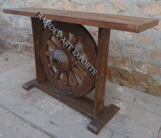 Wooden Console Table With Ox Cart Wheel.