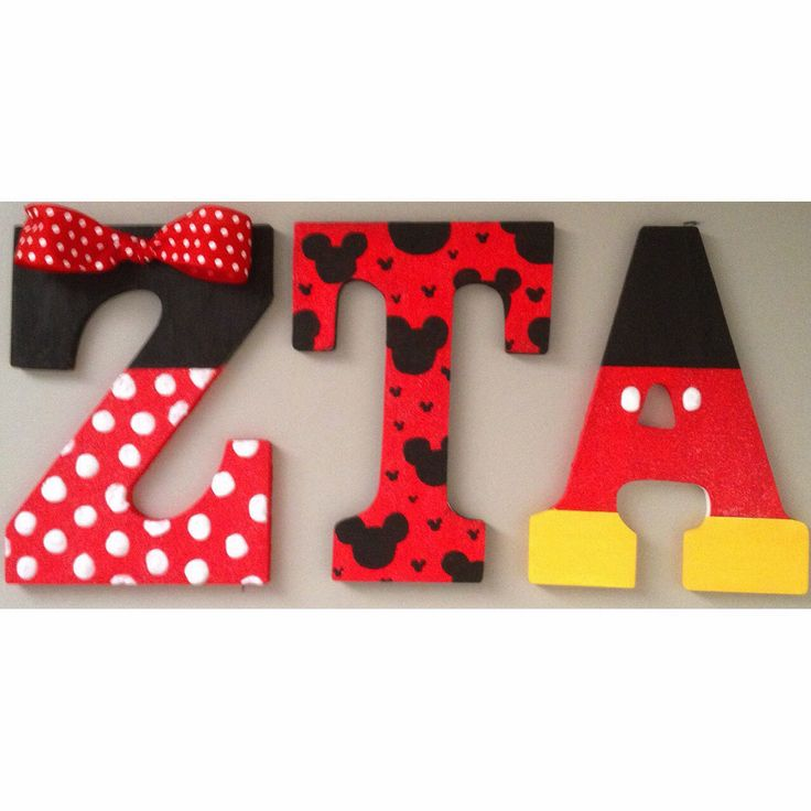 made ZTA Zeta Tau Alpha Mickey & Minnie wooden letters to decorate my Disney College Program dorm! Love sorority crafting❤️