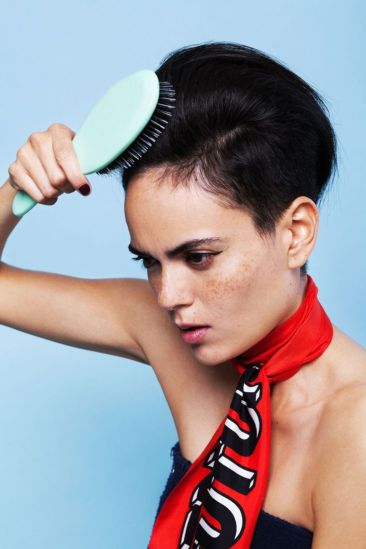 3 Totally Easy (& Cool) Ways To Style An Undercut #refinery29  http://www.refinery29.com/how-to-style-undercut-hair#slide-5  Step 3: After you've finished back-combing, you should have some major volume. Mist hairspray over your head, and with a Mason Pearson-like brush, just skim the top just of the hair, bushing it from your forehead back while doing your best James Dean impression. ...