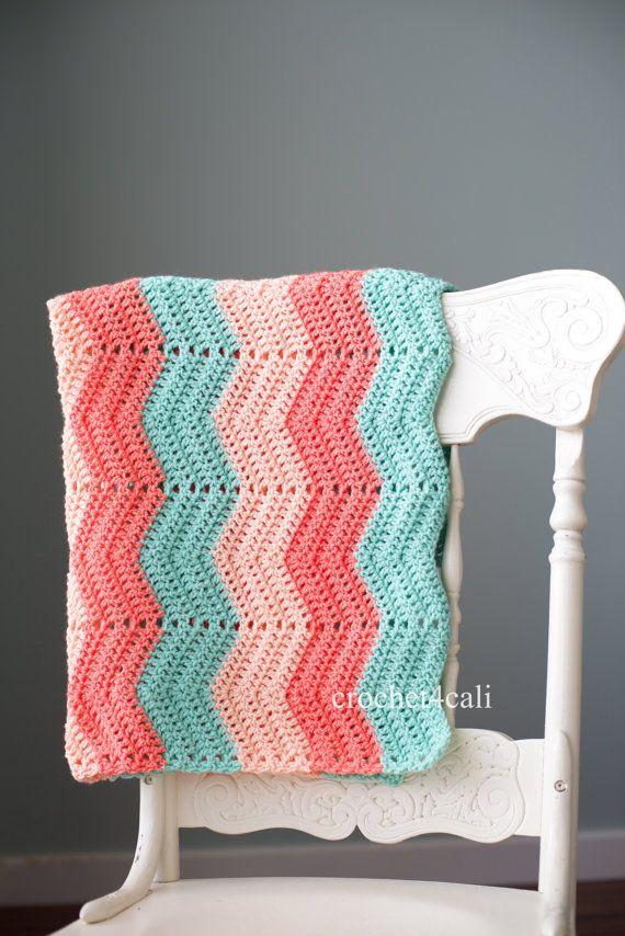 Chevron Baby Blanket - Handmade Crochet Newborn Afghan - coral, pink, dark mint - made to order