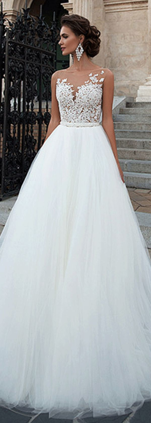 Charming Tulle Bateau Neckline A-line Wedding Dresses with Lace Appliques http://www.dressilyme.com/p-charming-tulle-bateau-neckline-a-line-wedding-dresses-with-lace-appliques-68485.html
