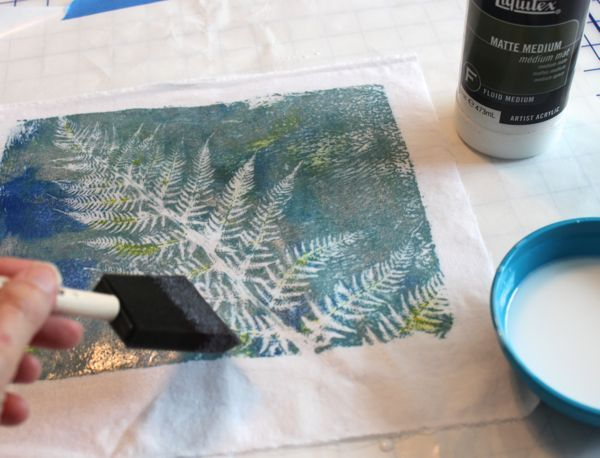 Mounting a fabric Gelli print by Lynda @ Bloom Bake and Create painting over with matt medium
