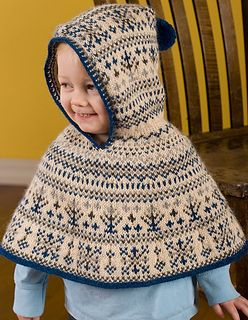 Norther Lights Cape is a hooded cape for a baby-toddler, and it has two color types - bluish for a boy, purplish for a girl.
