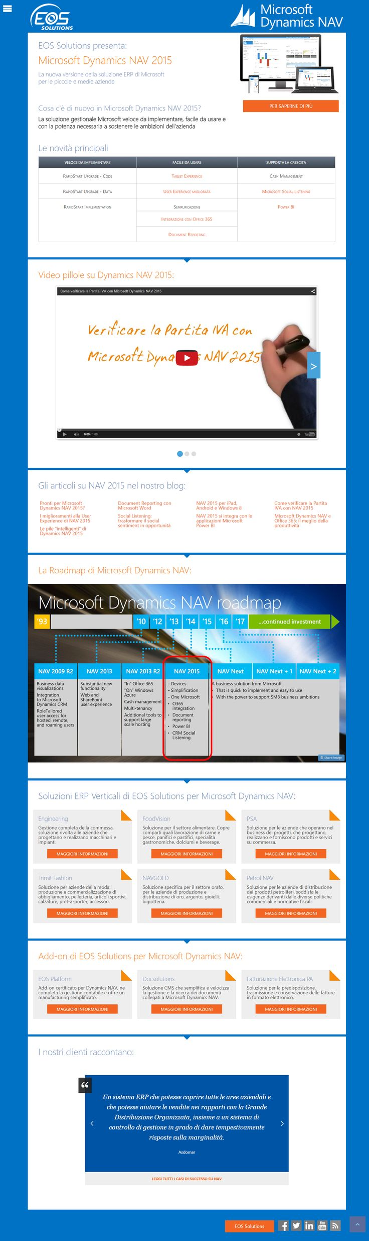 Landing Page Microsoft Dynamics NAV 2015 - web design, copywriting, front end development