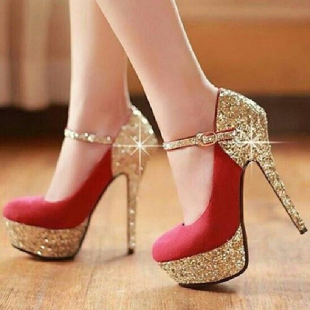 Red and gold glitter heels  where can i buy??