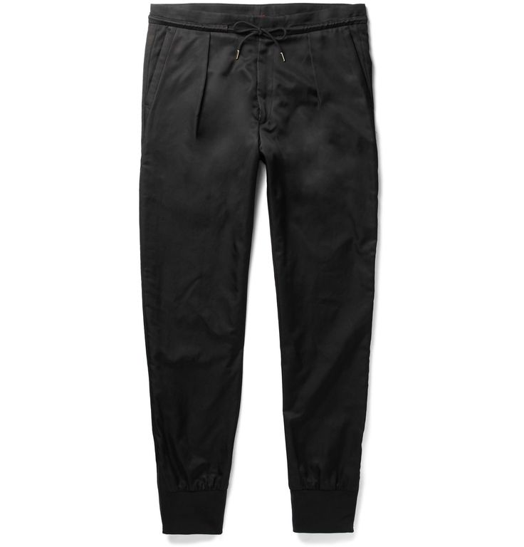 <a href='http://www.mrporter.com/mens/Designers/Paul_Smith'>Paul Smith</a>'s trousers walk the line between refined and sporty. Crafted from cotton-blend satin, this pair has traditional pleats through the front that accentuate the tapered shape and is finished with zipped ribbed-knit cuffs. Use the drawstring waistband to adjust the fit accordingly.