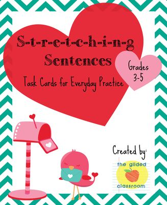 Stretching Sentences Task Cards! Enter for your chance to win 1 of 2.  Stretching Sentences Task Cards, Improve Sentence Writing, Common Core Aligned (9 pages) from The Gilded Classroom on TeachersNotebook.com (Ends on on 1-9-2015)  Do you want your students to improve their sentence writing? These Valentine-themed task cards are a great practice to encourage elaboration (best for grades 3-5). Use them as a quick warm up or in a center. Make sure to follow my shop! Don't delay, enter ...