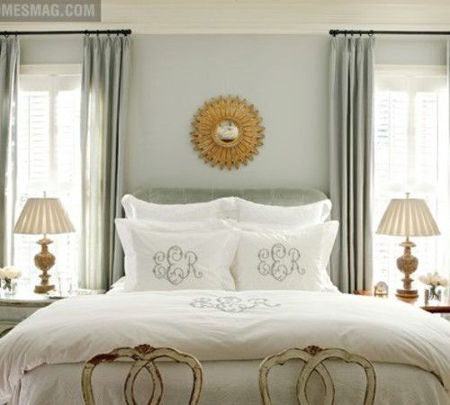 Bathed In Blue Paint Color Wall: Benjamin Moore Silver Crest, Trim:  Bavarian Cream