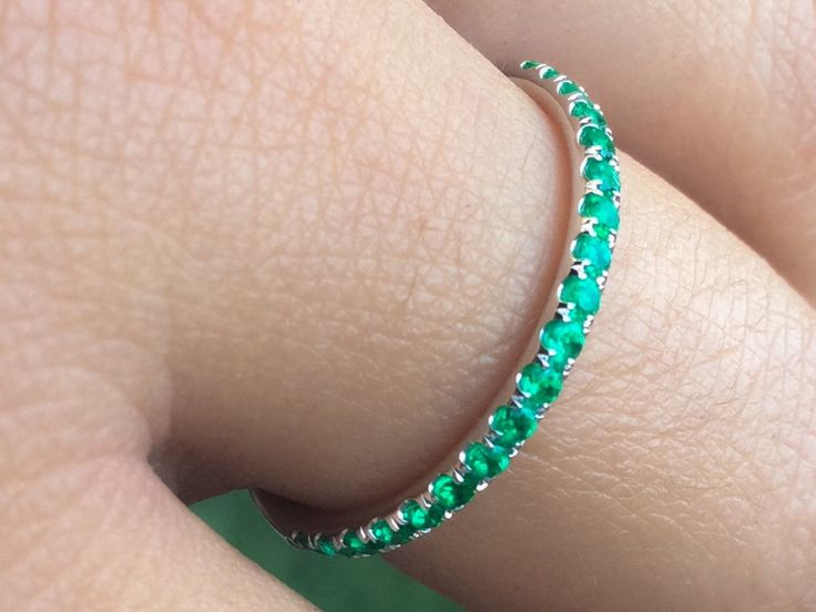 14K Pave Emerald Half Eternity Band 2mm White Gold Emerald Matching Band 14K Natural Emerald Infinity 14K Green Birthstone 2mm Stacking Band