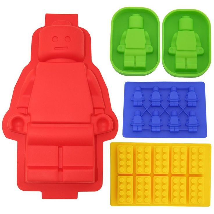 Building Bricks&minifigure Silicone Mold in Four Different Sizes.including 1 Large Figure Silicone Cake Mold&2 Medium-sized Figure Silicone Cake or Jelly Mold&1 Minifigure&1 Building Bricks Ice Cube Tray or Candy,jelly &Chocolates Silicone Mold for Lego Lovers
