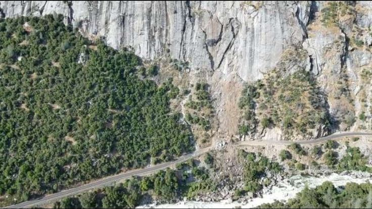 Yosemite National Park officials say the 4,000-ton slide forced a closure to part of the main highway leading up to the park.