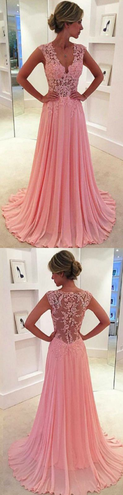 pink chiffon long prom dresses, long prom dresses for women, 2017 prom dresses cheap, new arrival prom dresses long, women's prom dresses, v-neck women's long prom dresses